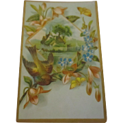 Lithograph card bird, house, flowers early 1900's