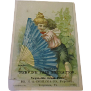 Victorian lithograph advertisement nervine pain extractor card.