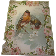 Large lithograph Victorian embossed card The Gibson art co.