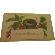 Victorian small lithograph Christmas card.