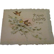 Victorian lithograph embossed Christmas card