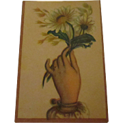 Forget me not flowers in hand lithograph place card.