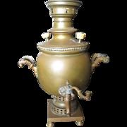 Late 1800-1900 Russian Samovar brass tea pot.