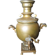 Late 1800-1900 Russian Samovar brass tea pot.