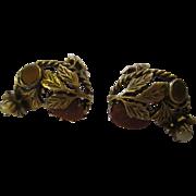 Beautiful pair of clamp earrings, sparkly copper rhinestones