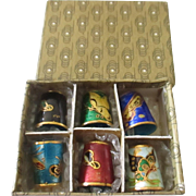 Collectible vintage cloisonne thimble set x 6 NIB