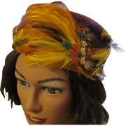 Beautiful Schiaparelli feather hat, glass hand beaded floral