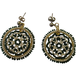 Mid 1970's glass beaded green and beige spiral earrings