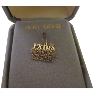 Extra Special Sister 14 k yellow gold charm