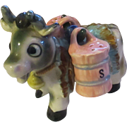 Mid 1950's Jersey Cow with barrel shaped Salt and Pepper shakers ( Japan )