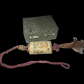 Vintage bone snuff/compact necklace/tassel