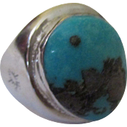 Vintage Hefty sterling turquoise man's ring