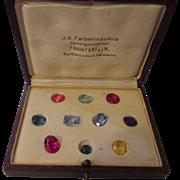 Vintage 1925 I B Farben Frankfurt Germany Synthetic Corundum stone set.