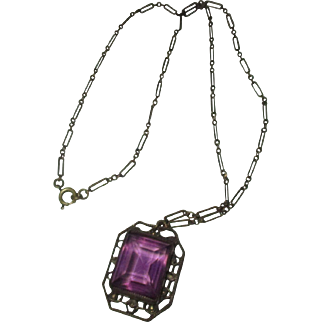 Vintage 1920's Czech large Amethyst glass necklace/ paper clip chain