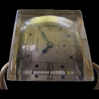 Unique Art Deco block ice/ Ice clamp Kingston pin/brooch/steam punk watch