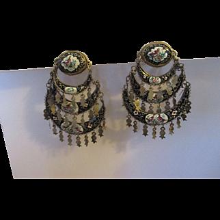 Vintage hand painted enamel chandelier/ Italy earrings