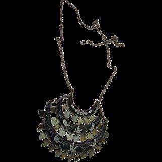 Vintage enamel Chandelier 3 tier necklace/Italy