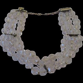 Late 1930's sterling crystal three strand bracelet
