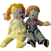 Vintage Pair of matching rag dolls/hand sewn face features