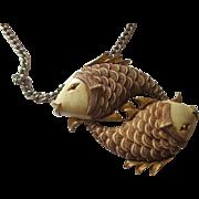 Vintage 1970's Razza Pisces fish large pendant/necklace
