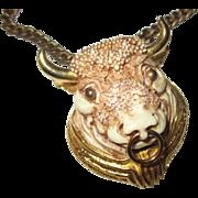 Vintage 1970 Razza Taurus/bull large necklace