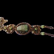 Vintage green peking glass copper/ necklace