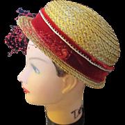 Vintage Alfreda Inc. New York/Paris hand made ladies straw hat.