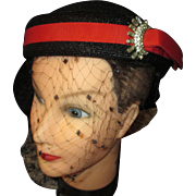 Vintage Sophisticated black straw hat by Richards Original