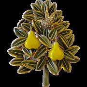 Vintage Rare Cadoro partridge in a pair tree brooch