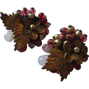 Early Miriam Haskell jeweled clamp earring