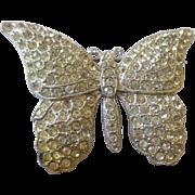 Art Deco paved rhinestone pot metal large butterfly brooch