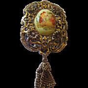 Vintage transfer tassel brooch