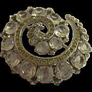 Vintage high quality Reja swirl design paved rhinestone brooch