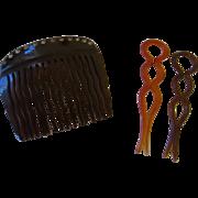 Vintage rhinestone comb, two celluloid bobbie pins