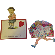 Two Sweet Vintage Valentine cards, one mechanical