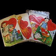 Super Large Vintage Valentine Cards x 4