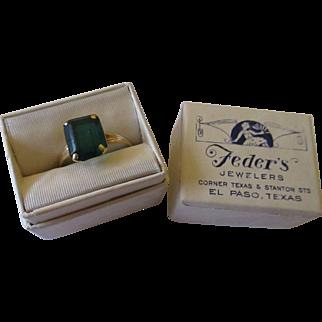Vintage 10K PSCO synthetic emerald ring Original presentation box