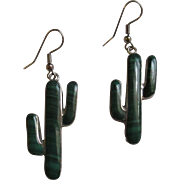 Vintage 970 sterling Malachite Cactus earring