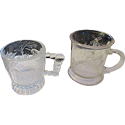 EAPG Early American Pattern glass two child's toy goblets 1850-1910