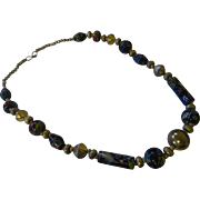 Early 1970's hand made art glass necklace
