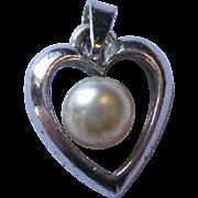 Sterling fresh water pearl heart pendant