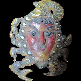 Wow unique pressed metal/ copper  ceremonial mask/Crab.