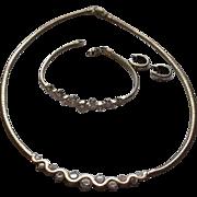 Beautiful Demi Parure set rhinestone, sterling silver