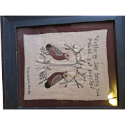 Antique Memorial Sampler, embroidered Very simple but very True 1803-1882