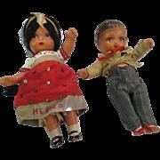 Pair Vintage 1920's Matador and Senorita compo dolls walker moving arms