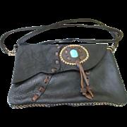 Southwest style soft pliable black leather purse