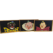 Vintage paintings of three different clowns 1960's.