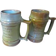 Vintage Frankoma Advertising Beer mugs green/brown x 2