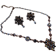 Avon copper necklace and earrings