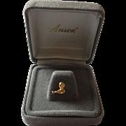 Cute gold tone bird/Bowling ball & pin by Anson tie pin